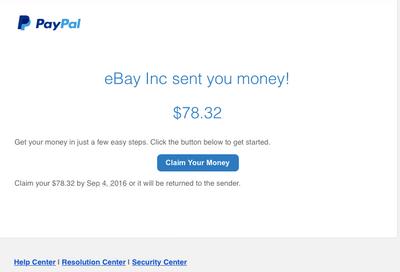 eBay Inc sent you money!