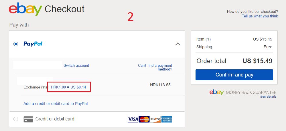 Ebay checkout payment options & PayPal conversion - PayPal