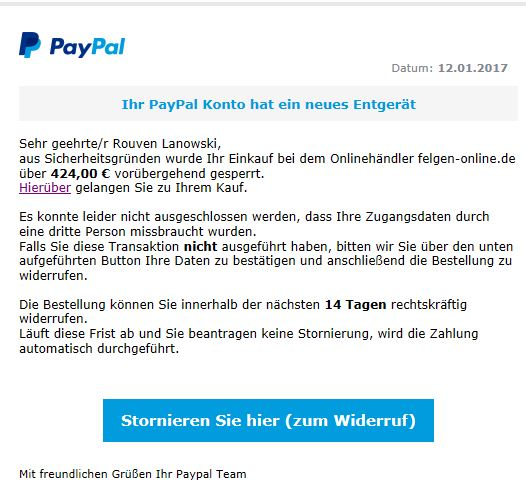 fake email betreff fragw rdige abbuchung paypal. Black Bedroom Furniture Sets. Home Design Ideas
