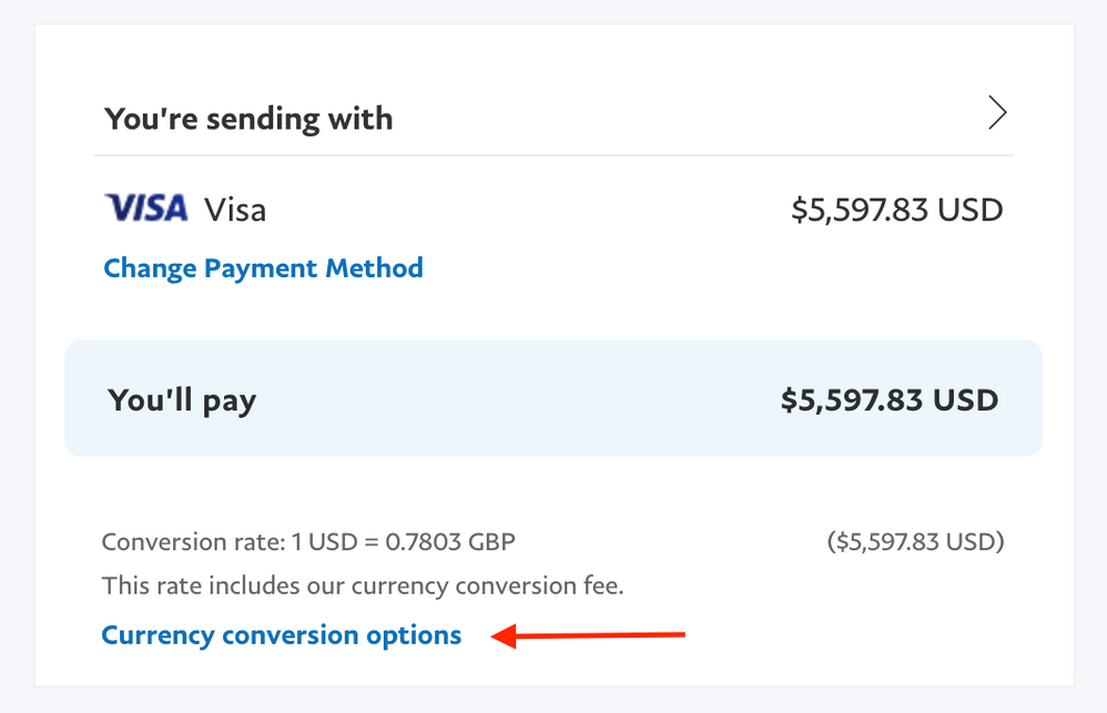 Why am I not given the currency conversion option  - PayPal