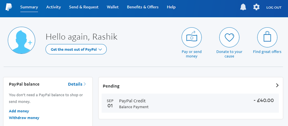 Paypal credit payment pending - PayPal Community