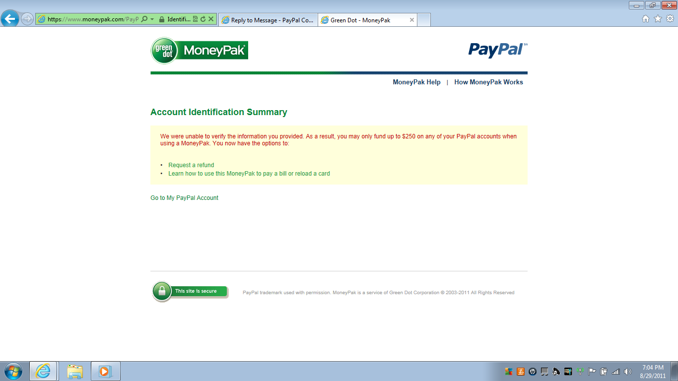 need help providing personal information to green paypal 0 kudos