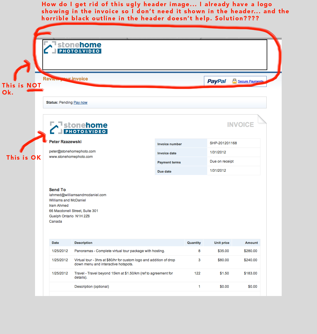 how to change or remove header image from invoice  - paypal, Invoice templates