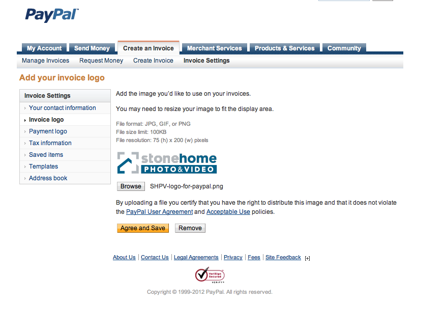 how to change or remove header image from invoice paypal community