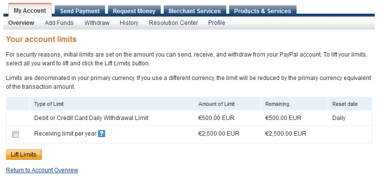 Lift Paypal Withdrawal Limit
