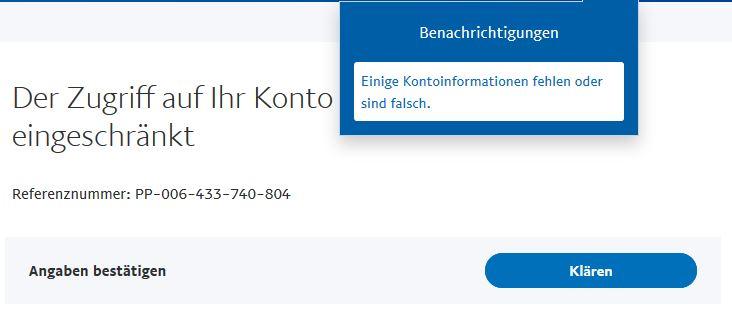 Paypal Kontoeinschränkung