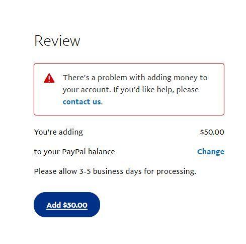 Review There Is A Problem Adding 50.00 To Your PayPal Account.JPG