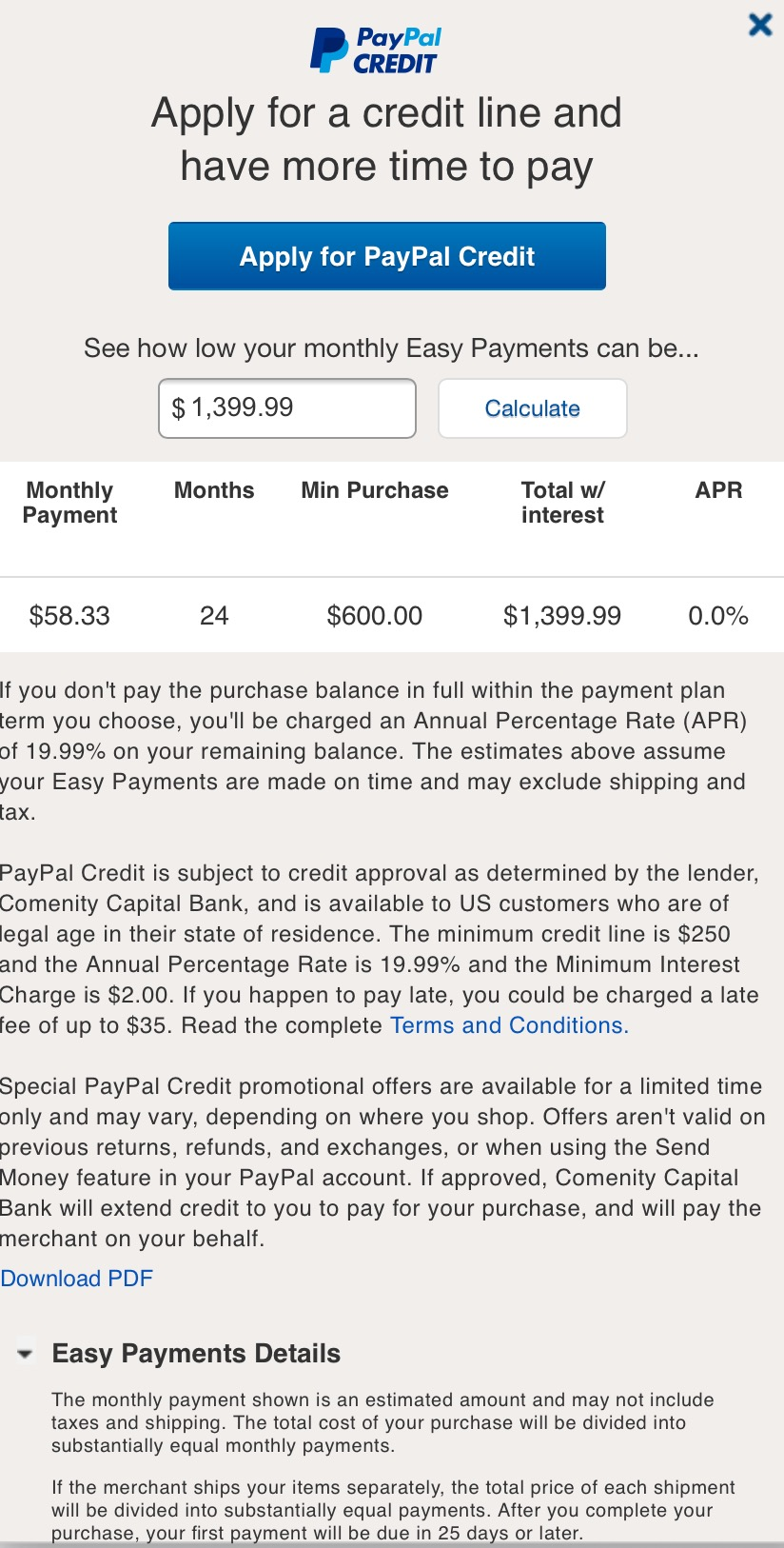 Can i pay ebay with paypal credit off early