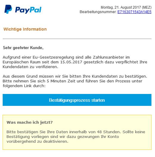 Verifizierung Paypal