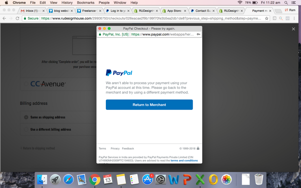 Unable to accept payment with my shopify store  - PayPal