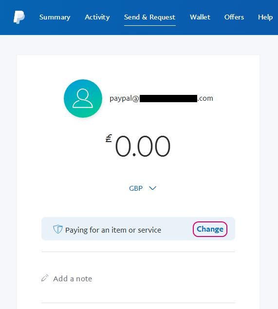 No options for sending money - i e  Friends and Fa