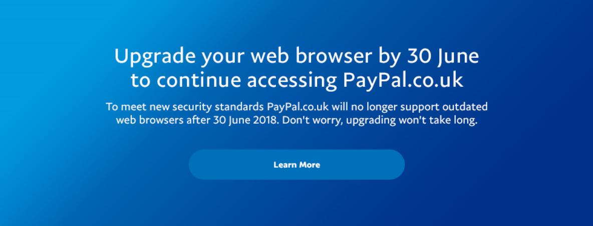 Solved: June 30, 2018 deadline for updating browser - Page