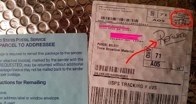 PACKAGE WITH FAKE RETURN ADDY