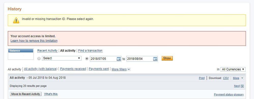 Account Limitation - PayPal Community