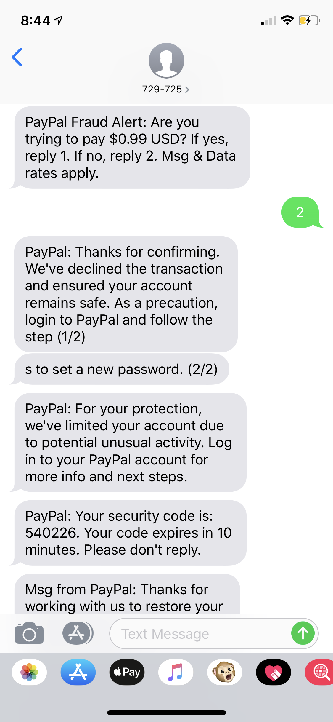 Text message from <remove> - PayPal Community