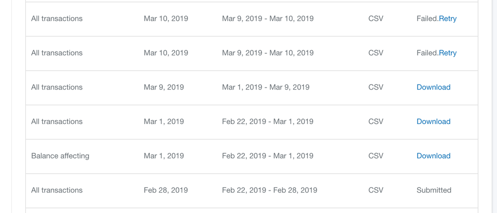 Download Transactions Data Fails or Never returns