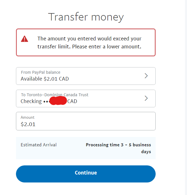 Cannot transfer Paypal balance to Bank Account - PayPal